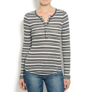 LUCKY BRAND STRIPED BUTTON TOP THERMAL HENLEY M